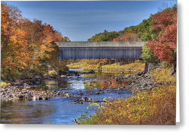 Covered Bridge Greeting Cards - Bridge Over Piscataquis River Greeting Card by Sharon Batdorf