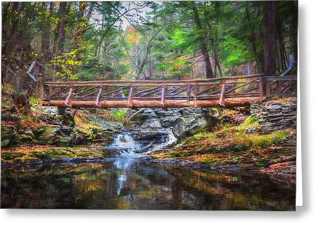 Dingmans Falls Greeting Cards - Bridge Over Placid Waters Painted  Greeting Card by Rich Franco