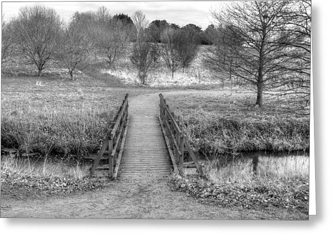 Bridge Over River In An English Countryside Scene On A Stormy Da Greeting Card by Fizzy Image