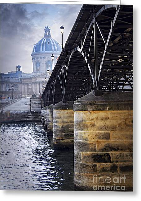 Tourists Greeting Cards - Bridge over Seine in Paris Greeting Card by Elena Elisseeva