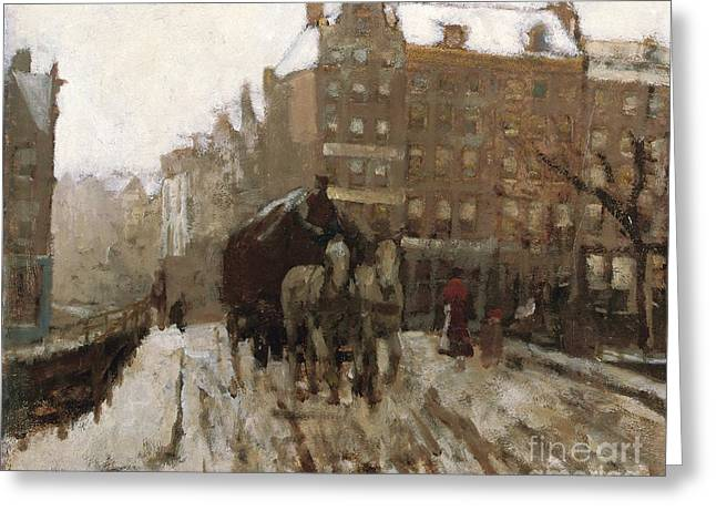 Winter Travel Greeting Cards - Bridge over Singel Canal by the Paleisstraat Greeting Card by Georg Hendrik Breitner