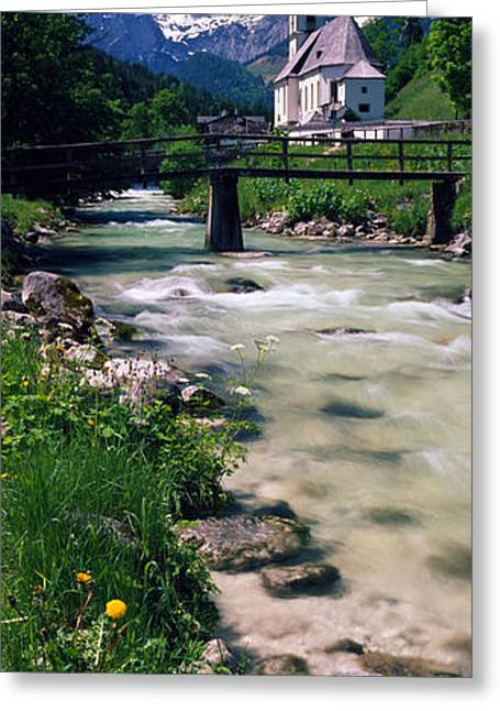 Country Church Greeting Cards - Bridge Over Stream Below Country Greeting Card by Panoramic Images