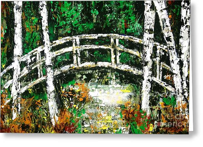 Fall Scenes Drawings Greeting Cards - Bridge Over Stream Greeting Card by Lisa Carroccio