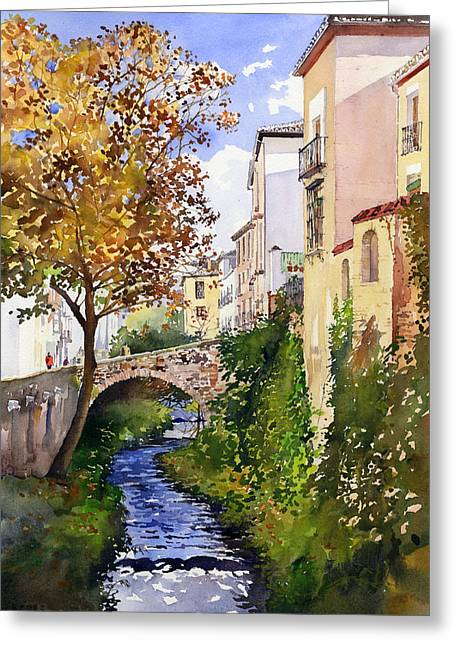 Bridge Over The Rio Darro Greeting Card by Margaret Merry