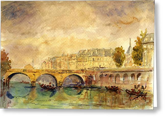 Notre Dame Cathedral Greeting Cards - Bridge over the Seine Paris. Greeting Card by Juan  Bosco