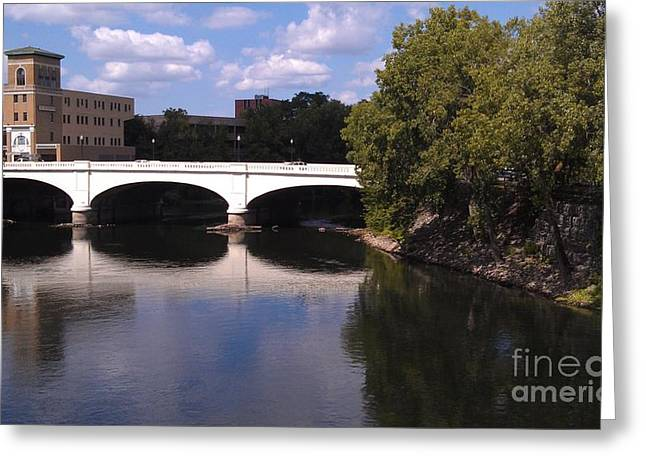 Saint Joseph Greeting Cards - Bridge over the St. Joseph River  --  South Bend Greeting Card by Anna Lisa Yoder