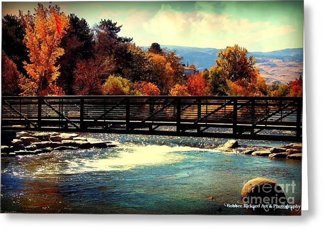 Riverwalk Digital Art Greeting Cards - Bridge Over the Truckee River Greeting Card by Bobbee Rickard
