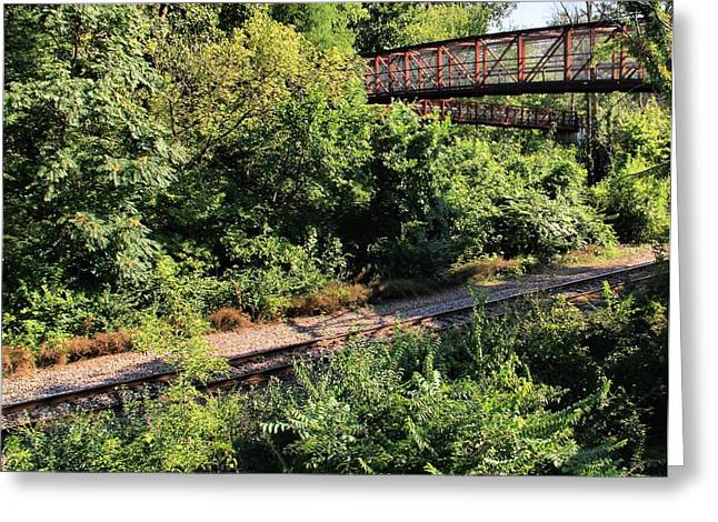 Jogging Greeting Cards - Bridge Over Train Greeting Card by Dan Sproul