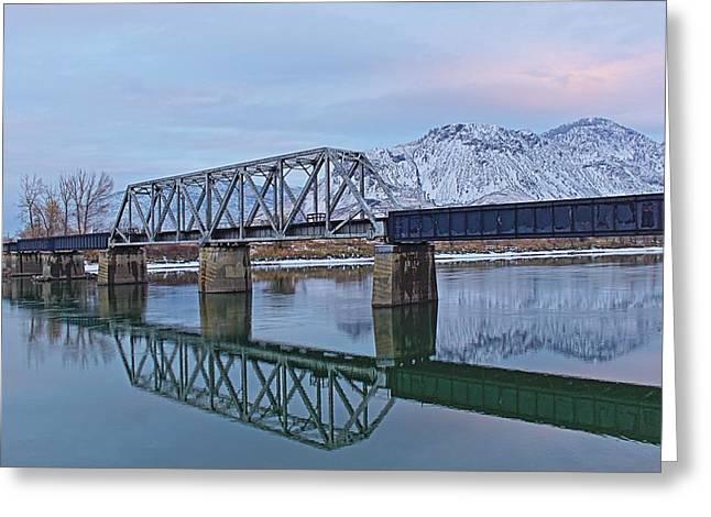 Kamloops Greeting Cards - Bridge Over Tranquil Waters Greeting Card by Steve Boyko