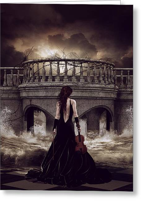 Bridge Greeting Cards - Bridge Over Troubled Waters Greeting Card by Shanina Conway