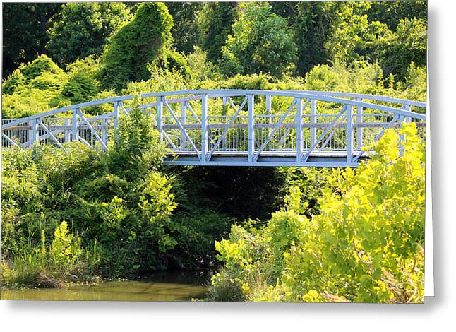 Stream Digital Greeting Cards - Bridge Over Water Greeting Card by Cynthia Guinn