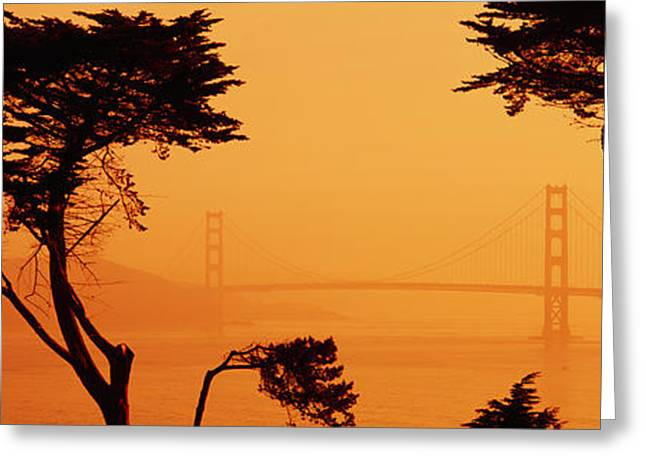 Famous Bridge Greeting Cards - Bridge Over Water, Golden Gate Bridge Greeting Card by Panoramic Images