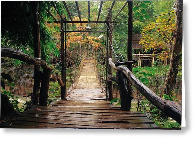 Bridge over waterfall Greeting Card by Nawarat Namphon