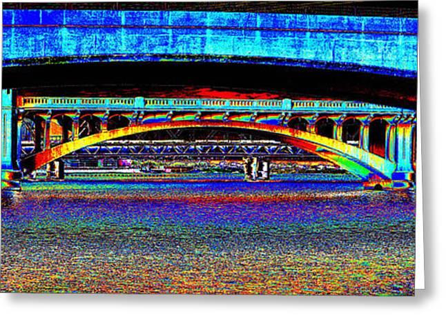 Historic Bridge Photographs Digital Greeting Cards - Bridge Panorama Pop Art Greeting Card by Phyllis Denton