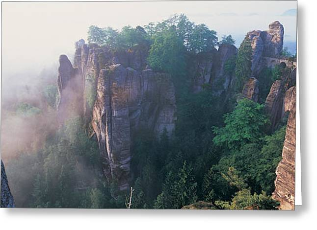 Saxony Greeting Cards - Bridge Passing Through Cliffs, Bastei Greeting Card by Panoramic Images