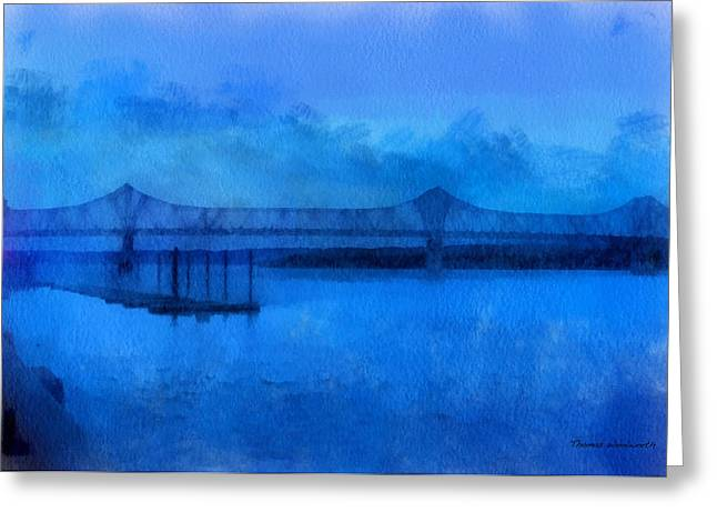 Steel Water Feature Greeting Cards - Bridge Photo Art 01 Greeting Card by Thomas Woolworth