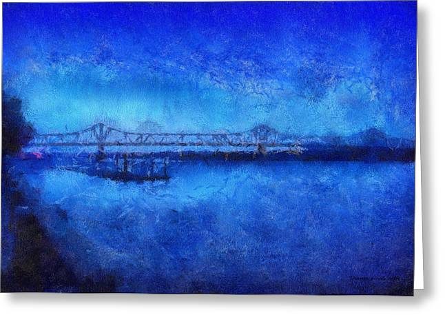 Steel Water Feature Greeting Cards - Bridge Photo Art 02 Greeting Card by Thomas Woolworth