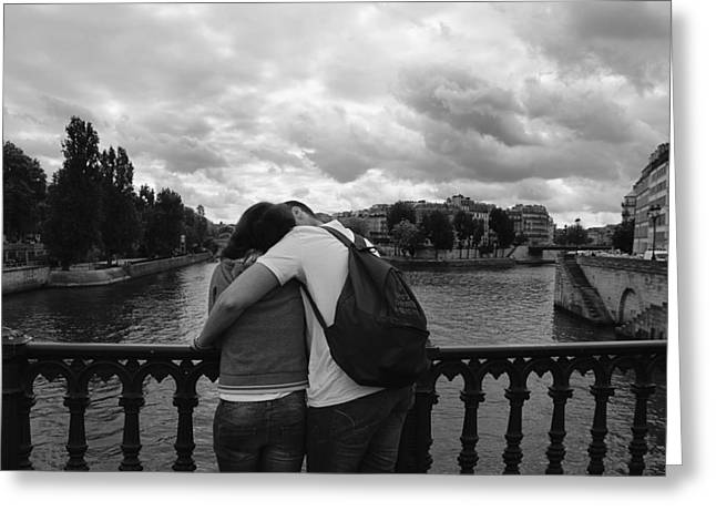 Night Cafe Greeting Cards - Bridge Reunion - Lovers in Paris Photography Greeting Card by Laria Saunders