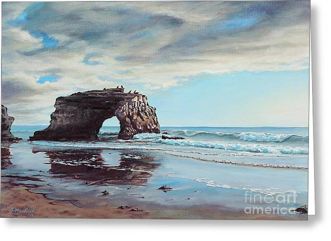 California Beach Art Greeting Cards - Bridge Rock Greeting Card by Joe Mandrick