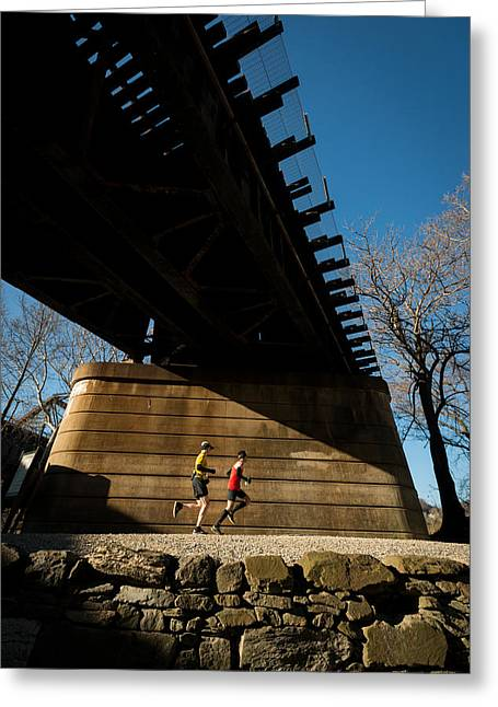 Endurance Sports Greeting Cards - Bridge Runners Greeting Card by Geoffrey Baker