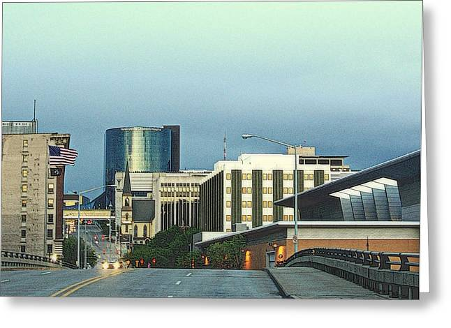 Rapids Pastels Greeting Cards - Bridge Street View Of Downtown Grand Rapids Michigan Greeting Card by Rosemarie E Seppala