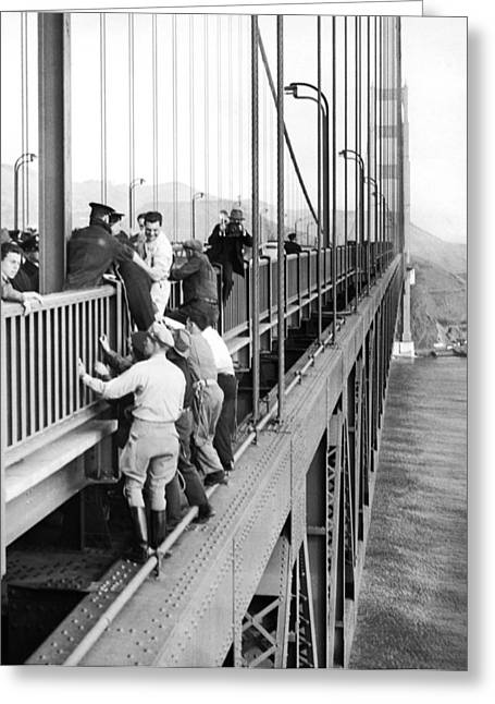 Cooperation Greeting Cards - Bridge Suicide Attempt Greeting Card by Underwood Archives