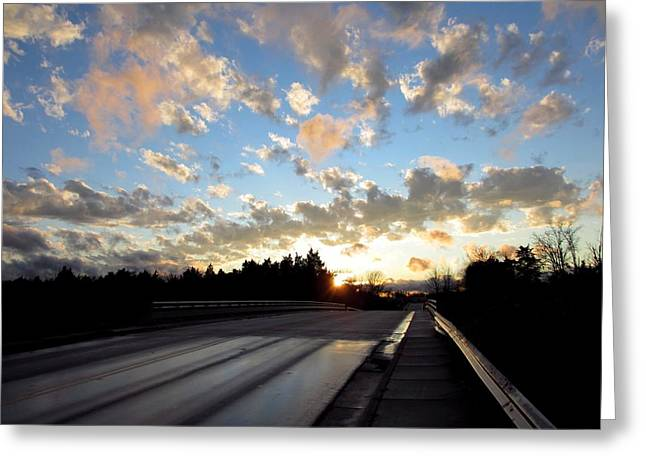 Charlotte Digital Art Greeting Cards - Bridge Sunset of Blue Greeting Card by Morgan Carter