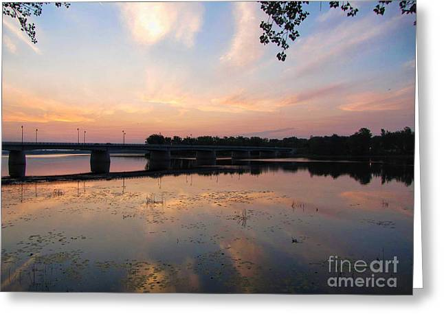 Bridge Sunshine Greeting Card by Samuel Lefebvre