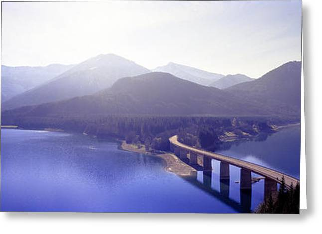 Connectivity Greeting Cards - Bridge Sylvenstein Lake Germany Greeting Card by Panoramic Images