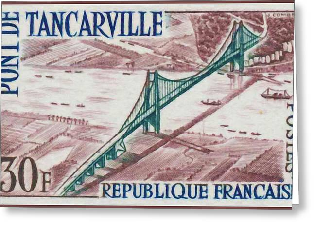 Eure Greeting Cards - Bridge Tancarville Greeting Card by Lanjee Chee
