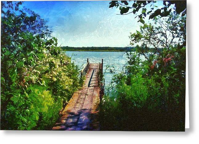 Camille Pissarro Digital Greeting Cards - Bridge to a Lake Greeting Card by Marina Kaehne