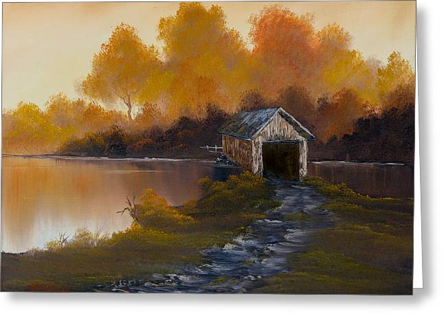 Bob Ross Paintings Greeting Cards - Covered Bridge in Fall Greeting Card by C Steele