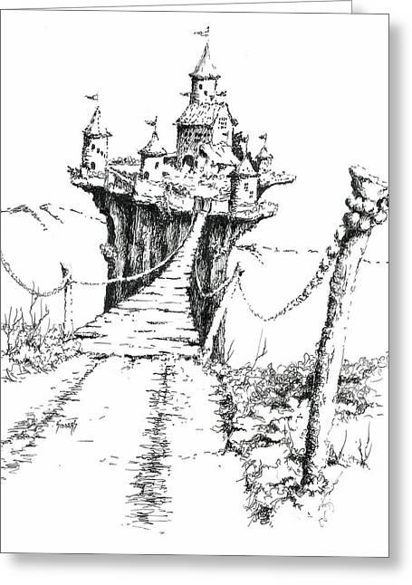 Bridge Drawings Greeting Cards - Bridge To Elipod Greeting Card by Sam Sidders