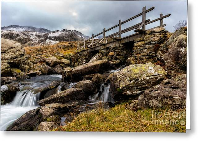 Waterfall Greeting Cards - Bridge To Idwal Greeting Card by Adrian Evans