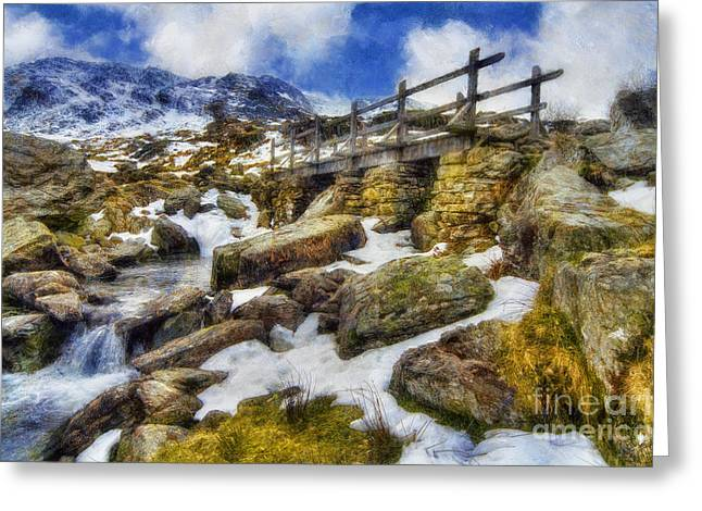 Snow . Bridge Greeting Cards - Bridge To Idwal Greeting Card by Ian Mitchell