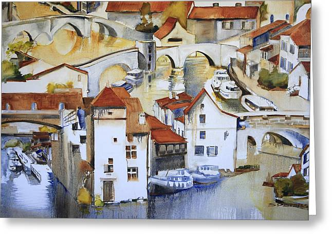 Recently Sold -  - South West France Greeting Cards - Bridge To Lock Greeting Card by Shirley  Peters