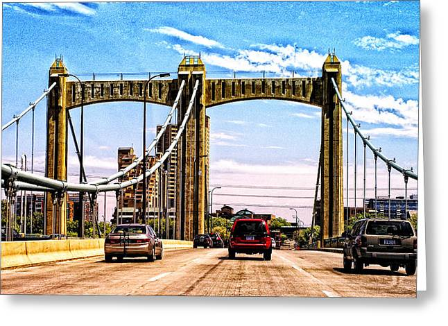 Colorful Photos Digital Art Greeting Cards - Bridge to Minneapolis 2 Greeting Card by Susan Stone