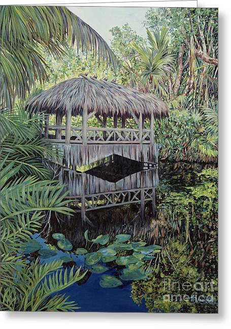 Bamboo House Greeting Cards - Bridge to Paradise Greeting Card by Danielle  Perry