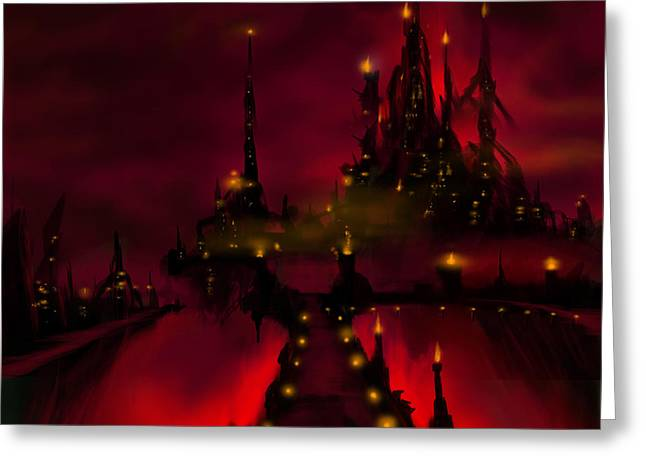 Thunderstorm Paintings Greeting Cards - Bridge to Red Castle Greeting Card by James Christopher Hill