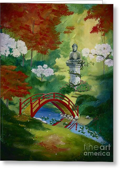 Lanscape Paintings Greeting Cards - Bridge To Serenity  Greeting Card by Bill Shelton