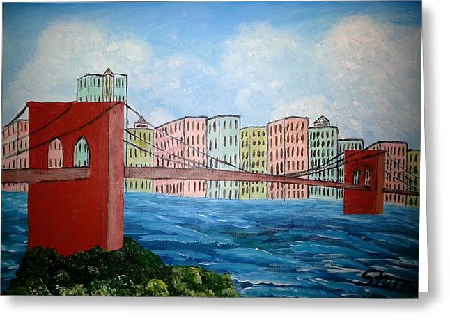 United States Steel Paintings Greeting Cards - Bridge To The City Greeting Card by Irving Starr