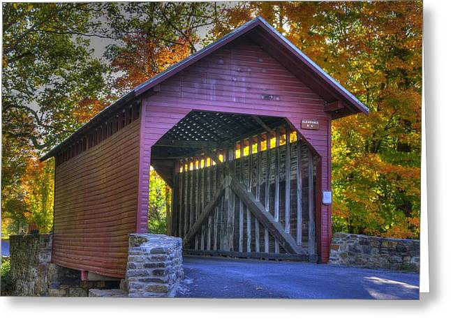 Bridge To The Past Roddy Road Covered Bridge-a1 Autumn Frederick County Maryland Greeting Card by Michael Mazaika