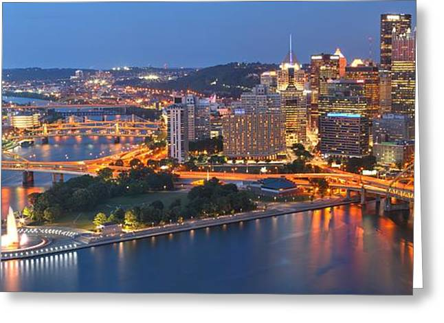 Incline Greeting Cards - Bridge To The Pittsburgh Skyline Greeting Card by Adam Jewell