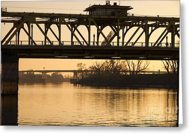 Gloaming Greeting Cards - Bridge Truss Sundown Greeting Card by Juan Romagosa