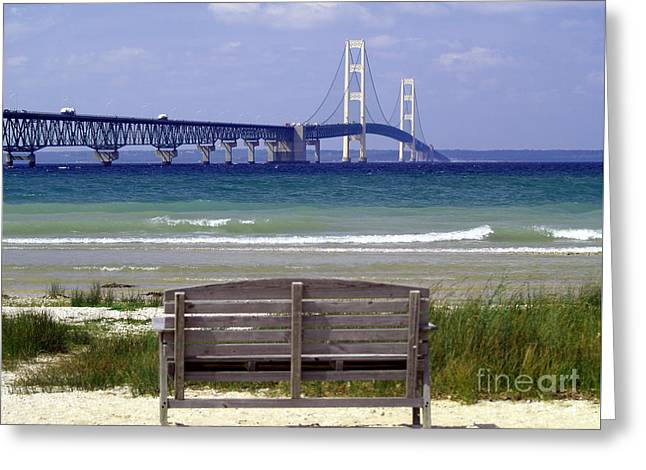Mackinaw City Greeting Cards - Bridge View Greeting Card by Melissa McDole