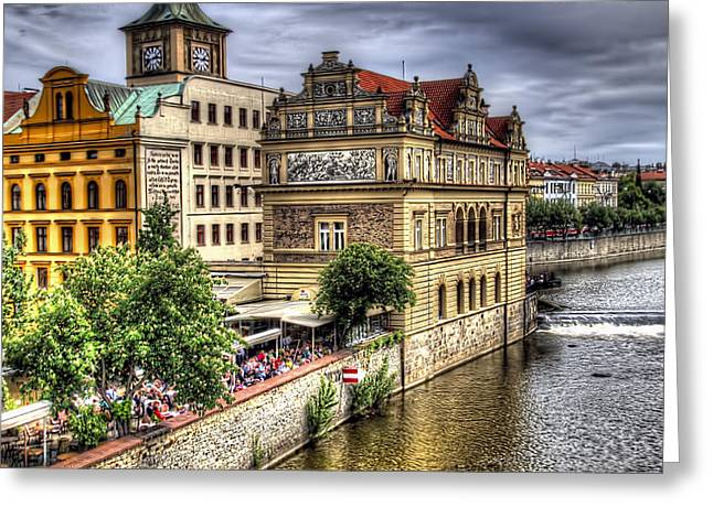 Astronomical Clock Greeting Cards - Bridge View - Prague Greeting Card by Jon Berghoff
