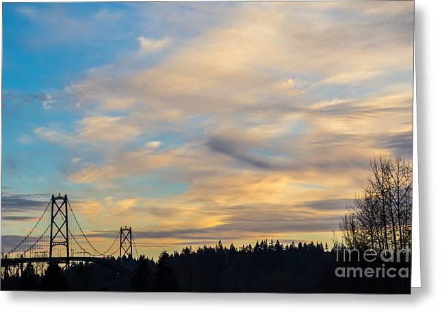 Bridge View Sunset Greeting Card by Alanna DPhoto