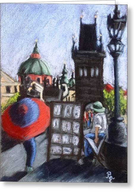 Prague Pastels Greeting Cards - Bridge Walk Greeting Card by Petra Terslova