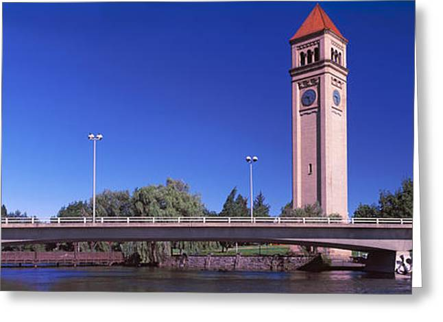 Bridge With Clock Tower Greeting Card by Panoramic Images