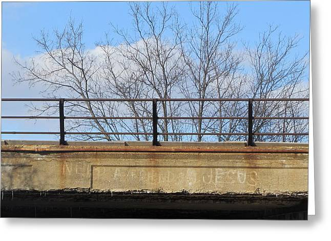 Concrete Bridge Greeting Cards - Bridge with Jesus 4 Greeting Card by Anita Burgermeister